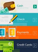 Set of flat design concepts - payment online. Cash, check, mobile online and credit card poster