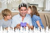 Loving children gifting father against fir tree forest and snowflakes poster