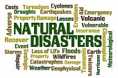 Natural Disasters word cloud on white background poster