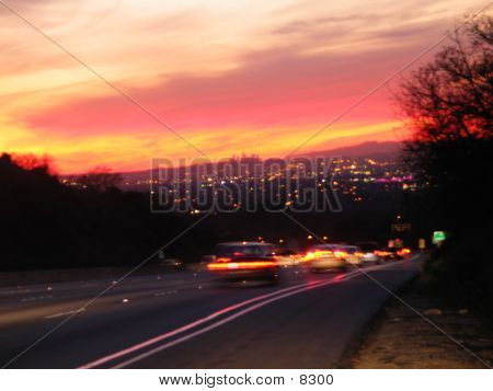 Blurry Sunset Of LA