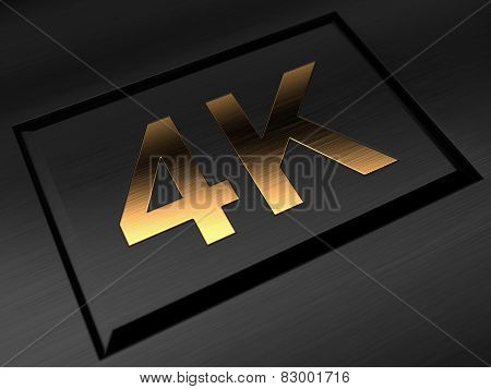 4K Ultra Hdtv Television Golden Symbol On Black