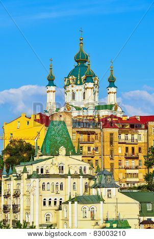 St. Andrew's Church And The Old Houses In Kiev