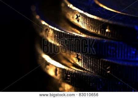 Stack of coins, macro view
