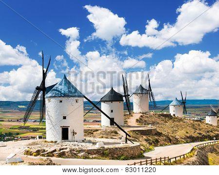 Group of windmills in Campo de Criptana. La Mancha, Spain