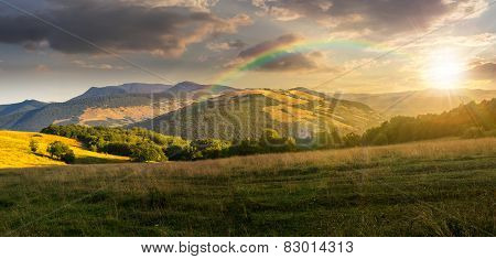 Meadow In High Mountains At Sunset