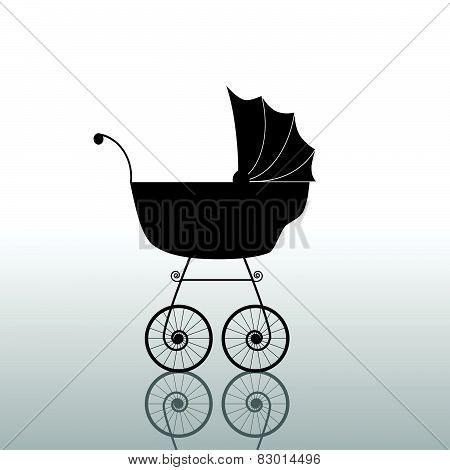 Baby Stroller Ancient Black Vector