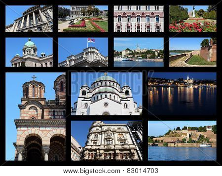 Belgrade Serbia travel photo collage. Collage includes major landmarks like Sava River skyline Parliament and Cathedral. poster