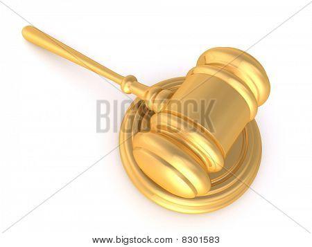 Gold 3D Rendered Hammer