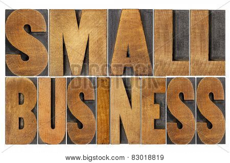 small business - isolated text in letterpress wood type printing blocks