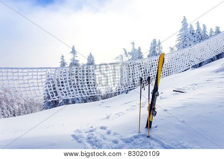 Ski Equipment On Ski Run With Pine Forest Covered In Snow