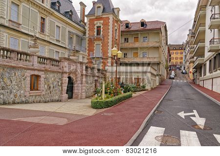 Tiny Street In Evian-les-bains In France In The New Year In Winter