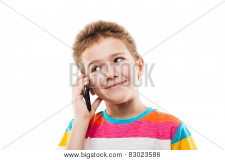 Beauty smiling child boy hand holding mobile phone or talking smartphone white isolated