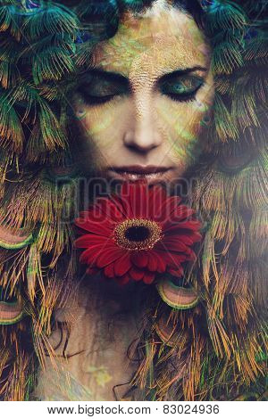 fantasy beautiful woman portrait with flower, composite photo