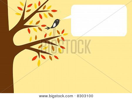 Autumn tree and little bird with word bubble for your text