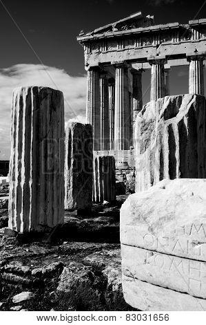 Mono Ruined Columns And Pediment Of Parthenon