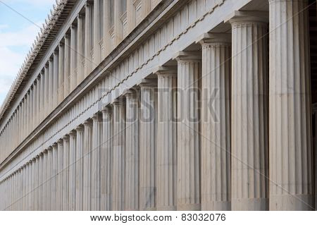 Close-up Of Marble Stoa Of Attalos Colonnades
