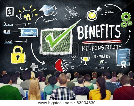 Benefits Gain Profit Earning Income Education Learning Concept poster