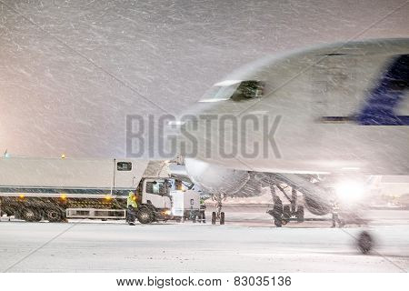 Moscow, Russia, February, 09,2015: aircraft and airport equipment