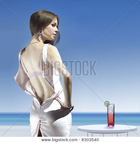 Unbuttoned Dress Of Woman