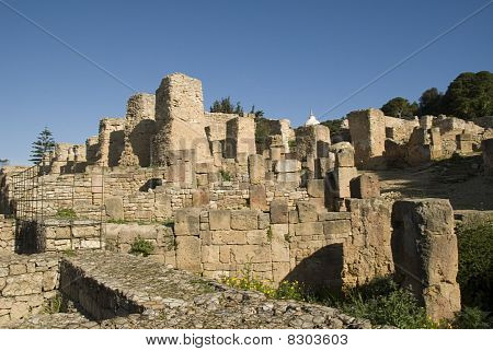 Columns of the ruins of Carthago in Tunisia Africa poster
