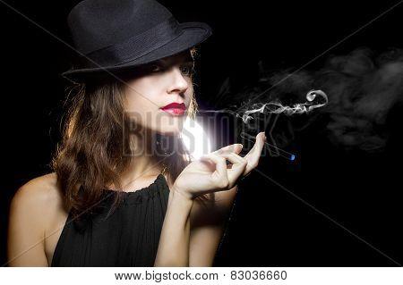 Woman Vaping Smoking Alternative