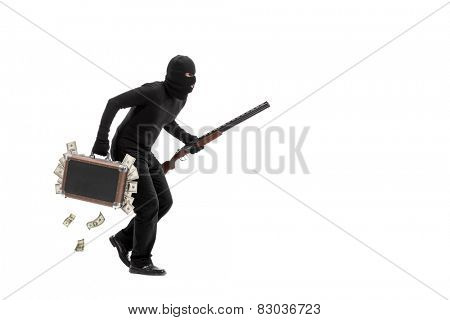 Criminal with briefcase full of stolen money running away quietly isolated on white background