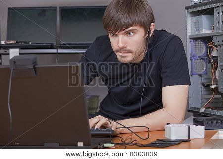 Computer Hacker At Work