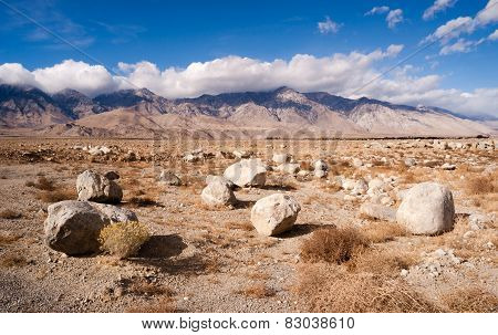 Sagebrush Boulders Owens Valley Sierra Nevada Range California