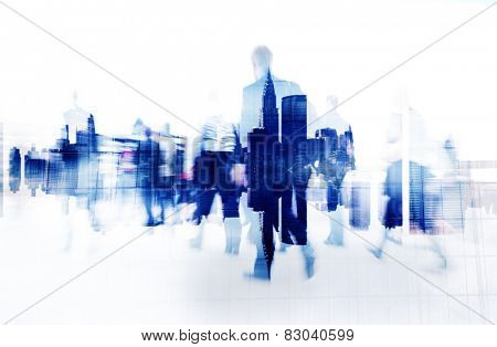 Business People Walking on a City Scape