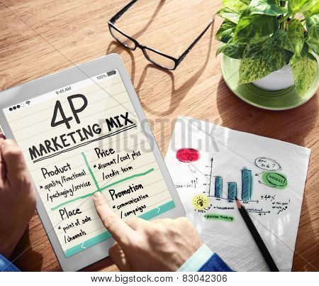 Digital Onine 4P Marketing Mix Office Working Concept