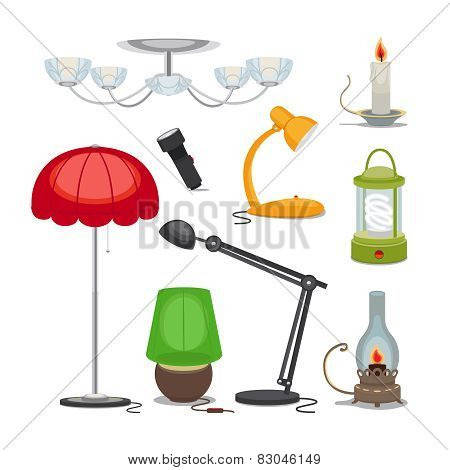 Lamps and lights. Vector chandelier, flashlight, candle