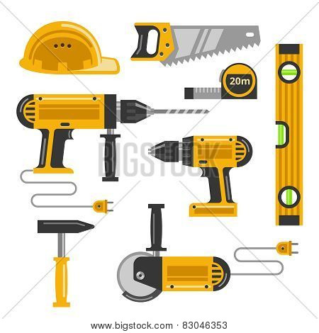 Construction tools flat icons