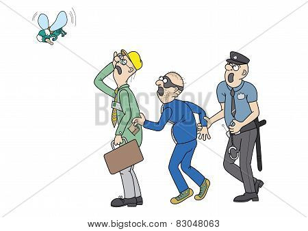Office worker, a pickpocket and a policeman are staring at a big fly