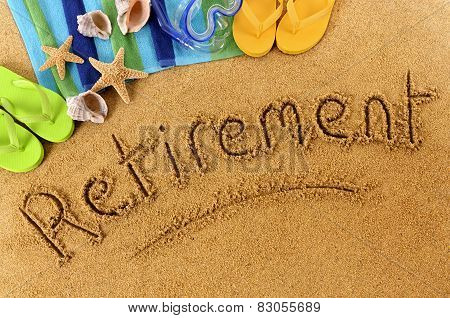 The word Retirement written on a sandy beach with scuba mask beach towel starfish and flip flops. poster