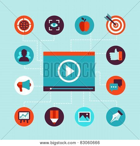 Vector Video Marketing Concept In Flat Style