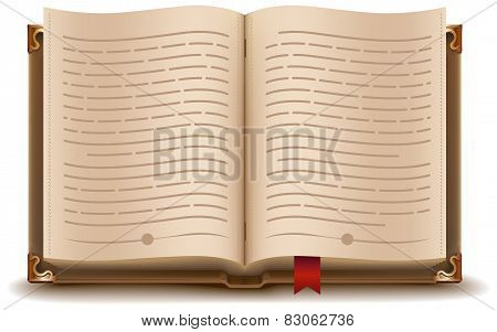 Open book with text and red bookmark