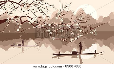 Vector Illustration Of Branch Of Blossoming Tree With Fishing Boats.
