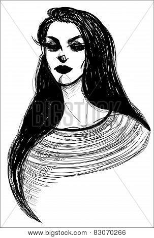 Goth girl with long eyelashes