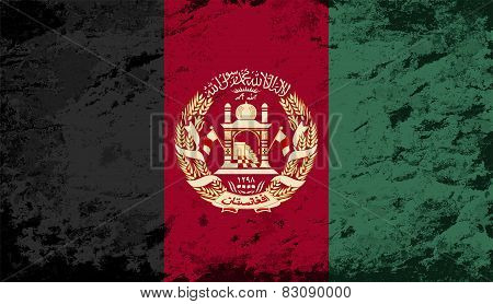 Afghanistan flag. Grunge background. Vector illustration