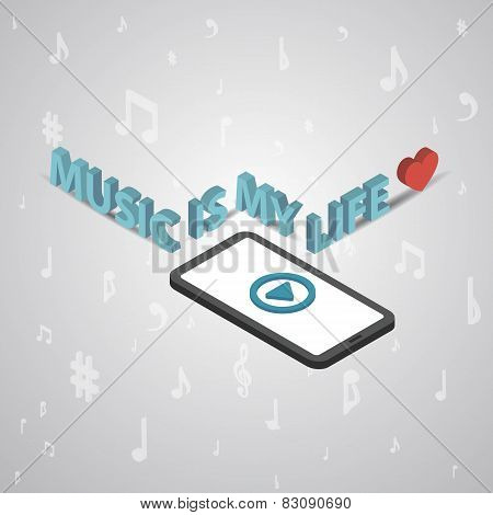 Mobile smartphone music services isometric style vector illustra