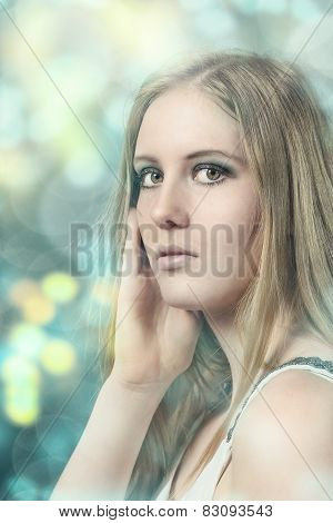 Portrait Of A Pretty Blond Woman