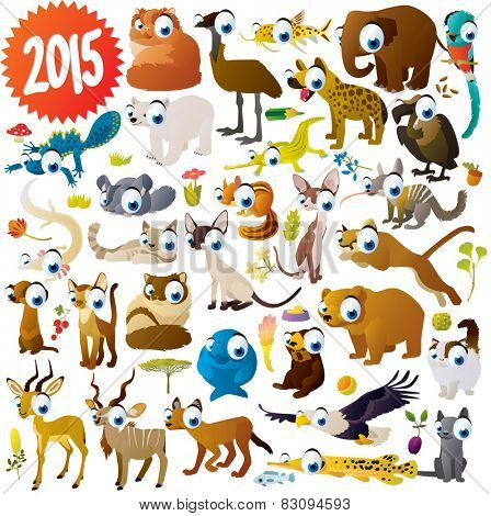 extra big set of cartoon comic funny cute animals: antelope, elephant, cats, newt, eagle, vulture, olm, gar, chinchilla, chipmunk, dugong, numbat, hyena, quetzal, puma, kudu, impala, polar bear, emu