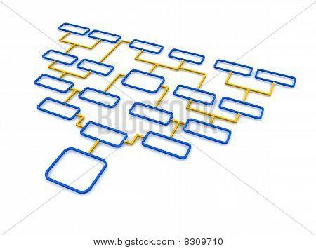 Blue and orange schematic diagram