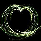 Fractal illustration of a green apple heart poster