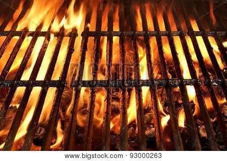 Flaming Bbq Charcoal Grill Background