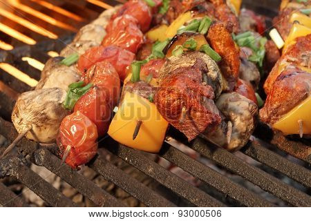 Homemade Beef Shish Kabobs With Peppers And Mushrooms