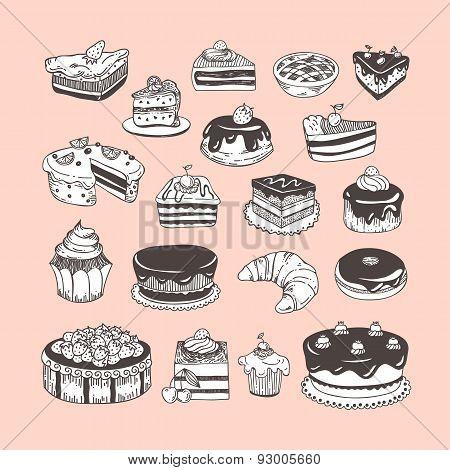 Hand drawn vector set desserts, bakery, sweets, tarts, donuts, cupcakes
