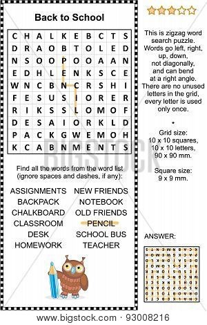 Back to school wordsearch puzzle