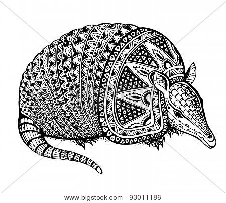 Vector illustration of a totem animal/tattoo - armadillo - in graphic black and white style