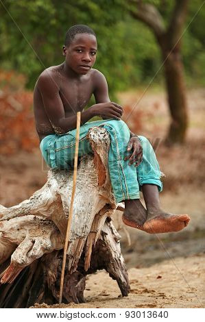 African boy fisherman